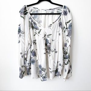 Floral Cream Flowy Tassel Blouse // Old Navy